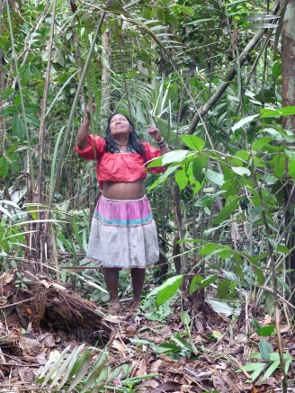 Epifania Quenama, acquiring palm leaves for a shelter.