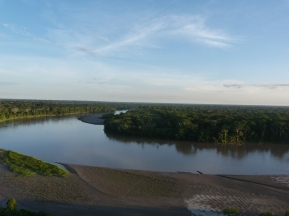 The Aguarico River. Sand beach infront of the Zabalo community.